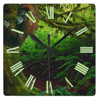 Endangered Orangutan & Rainforest Primate Image 2 Square Wall Clock