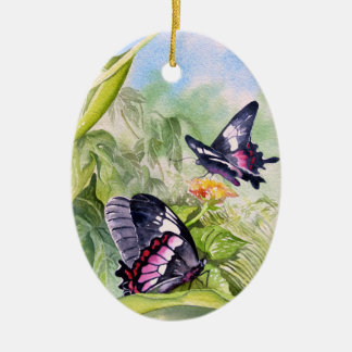 Endangered Tropical Butterflies Fine Art Ceramic Ornament