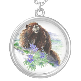 Endangered Van, Isle Marmot   - Nature Silver Plated Necklace