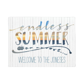 Endless Summer Tropical Vacation Sunset Typography Doormat