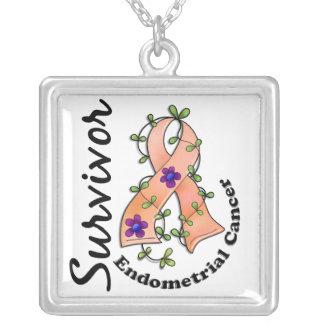 Endometrial Cancer Survivor 15 Square Pendant Necklace