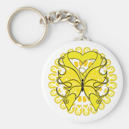 Endometriosis Butterfly Circle of Ribbons Basic Round Button Keychain