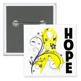 Endometriosis Floral Hope Ribbon 2 Inch Square Button