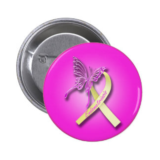 Endometriosis Ribbon with Butterfly 2 Inch Round Button