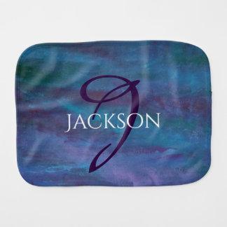 Energetic Baby   Custom Blue Purple Teal Ombre Burp Cloth