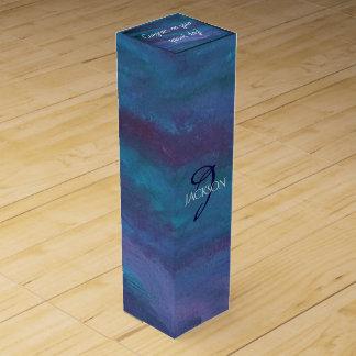 Energetic Bar   Monogram Chic Blue Purple Teal Wine Gift Box