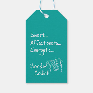 Energetic border collie gift tags