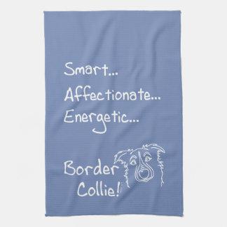 Energetic border collie kitchen towel