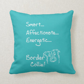 Energetic border collie throw pillow