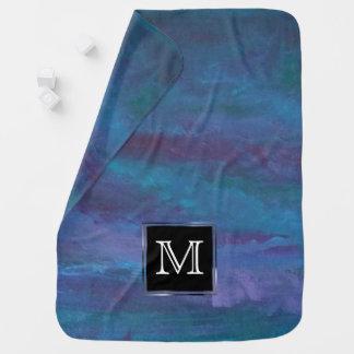 Energetic Chic | Monogram Blue Purple Teal Ombre Stroller Blanket