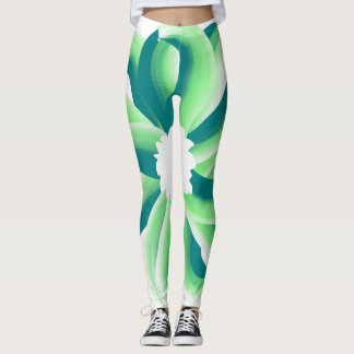 Energetic, green, vibrant flower leggings
