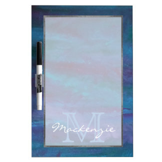 Energetic Kitchen | Monogram Blue Purple Turquoise Dry Erase Board