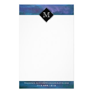 Energetic Office | Monogram Blue Purple Turquoise Stationery