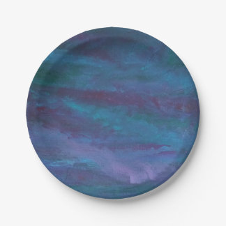 Energetic Party   Blue Purple Teal Turquoise Ombre Paper Plate