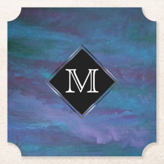 Energetic Party | Monogram Ombre Blue Teal Purple Paper Coaster