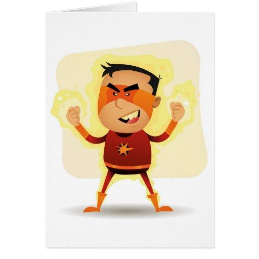 Energy Boy - Cartoon Superhero Superpower Greeting Card