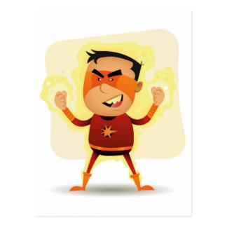 Energy Boy - Cartoon Superhero Superpower Postcard