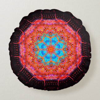 Energy Flower Mandala Round Pillow