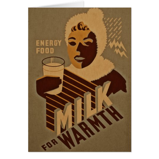 Energy Food - Milk for Warmth Vintage Retro Card