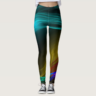 Energy in Motion Black Multi-colored Light waves Leggings