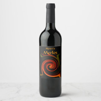 Energy of Creation Abstract Red Wine Label