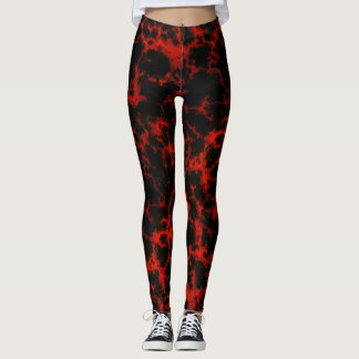 Energy Red and Black Flames Leggings