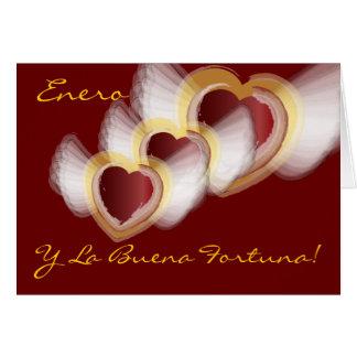 """""""Enero Y La Buena Fortuna""""-Customize Greeting Card"""