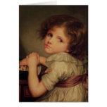 Enfant avec une poupée cartes de vœux