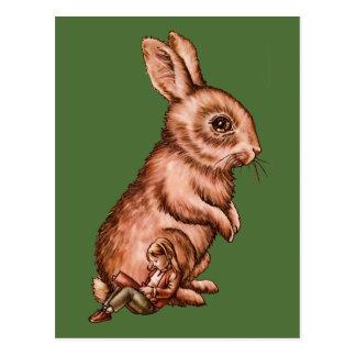 Enfant de bande dessinée avec le dessin de lapin carte postale