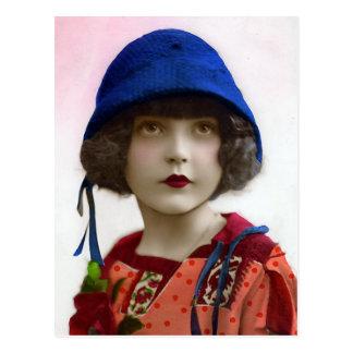 """""""Enfant portrait vintage dans chapeau bleu"""" Cartes Postales"""