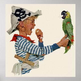 Enfant vintage, garçon jouant l'oiseau de perroque poster