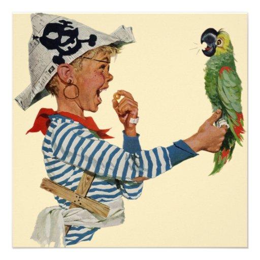 Enfant vintage, garçon jouant l'oiseau de perroque invitations