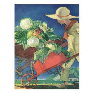 Enfant vintage, jardinage organique ; Jardin de Cartes Postales