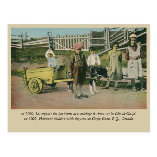 Enfants avec le chariot de chien, côte Québec Carte Postale