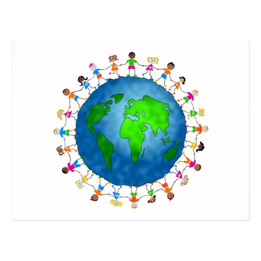 Enfants globaux carte postale