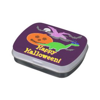 Enfants heureux de partie de Halloween de dinosaur Boites Jelly Belly