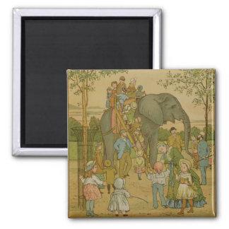 Enfants montant sur l'éléphant (litho) aimants pour réfrigérateur
