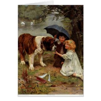 Enfants rencontrant un chien de St Bernard, Carte De Vœux