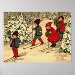 Enfants skiant, une scène vintage d'hiver poster