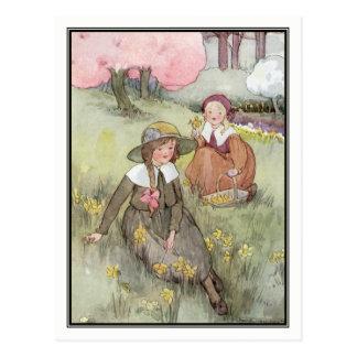 Enfants vintages dans le pré par Anne Anderson Carte Postale