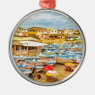 Engabao Beach at Guayas District Ecuador Silver-Colored Round Ornament