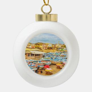 Engabao Beach Guayas Province Ecuador Ceramic Ball Christmas Ornament
