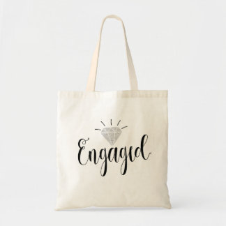 Engaged Canvas Tote Bag   Silver Glitter Diamond