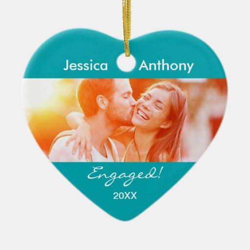 Engaged Christmas Photo Ornament