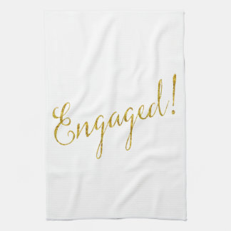 Engaged Gold Faux Glitter Metallic Sequins Kitchen Towel