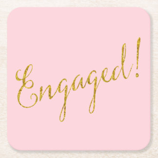 Engaged Gold Faux Glitter Metallic Sequins Pink Square Paper Coaster