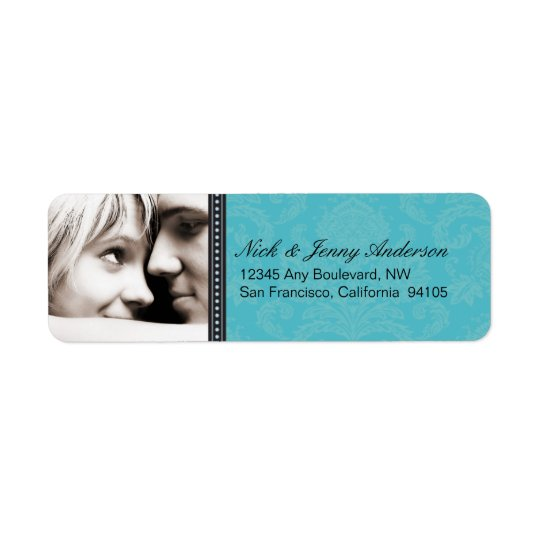 Engaged Photo Return Address Label (aqua)