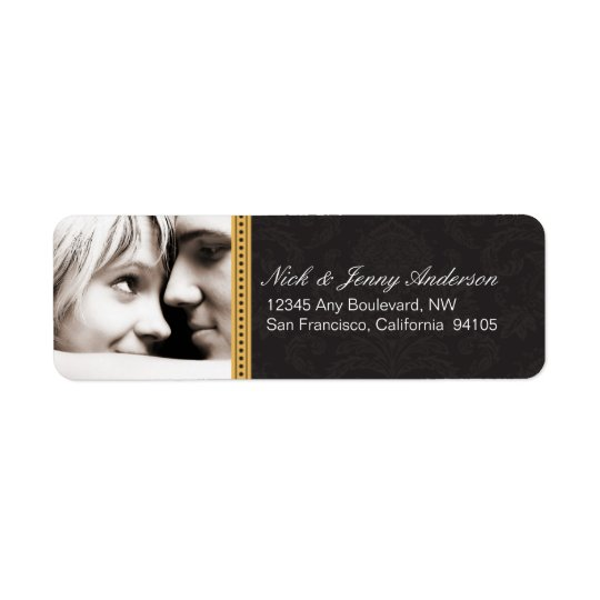 Engaged Photo Return Address Label (black)