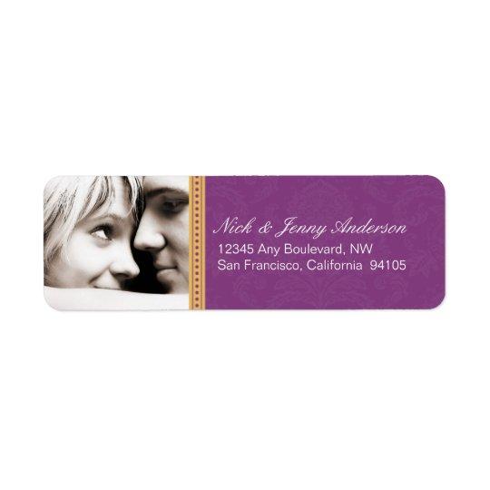 Engaged Photo Return Address Label (purple)