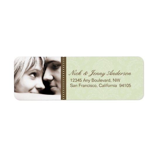 Engaged Photo Return Address Label (sage)